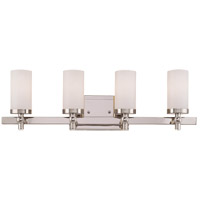 Manhattan 4 Light 26 inch Polished Nickel Bath Bar Wall Light in White Opal Etched