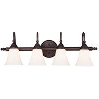 Brunswick 4 Light 30 inch English Bronze Bath Bar Wall Light, Glass Sold Separately