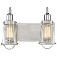 Lansing 2 Light 14 inch Satin Nickel with Polished Nickel Accents Bath Bar Wall Light