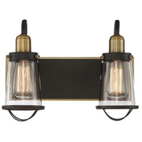 Lansing 2 Light 14 inch English Bronze and Warm Brass Bath Bar Wall Light