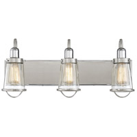 Lansing 3 Light 24 inch Satin Nickel with Polished Nickel Accents Bath Bar Wall Light