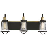 Lansing 3 Light 24 inch English Bronze and Warm Brass Bath Bar Wall Light