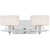 Oneida 2 Light 15 inch Polished Nickel Bath Bar Wall Light in White Opal