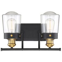 Savoy House 8-2069-2-51 Macauley 2 Light 15 inch Vintage Black With Warm Brass Bath Light Wall Light