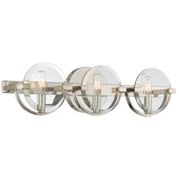 Malvern 3 Light 24 inch Polished Nickel Bath Bar Wall Light in Clear Beveled