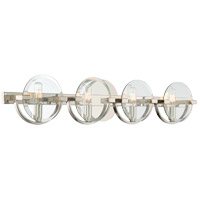 Malvern 4 Light 32 inch Polished Nickel Bath Bar Wall Light in Clear Beveled