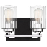 Savoy House 8-2154-2-67 Redmond 2 Light 12 inch Matte Black with Polished Chrome Accents Bath Bar Wall Light