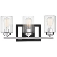 Savoy House 8-2154-3-67 Redmond 3 Light 20 inch Matte Black with Polished Chrome Accents Bath Bar Wall Light
