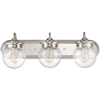 Downing 3 Light 24 inch Polished Nickel Bath Bar Wall Light in Clear