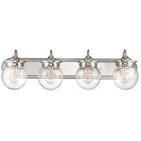 Downing 4 Light 30 inch Polished Nickel Bath Bar Wall Light in Clear