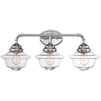 Fairfield 3 Light 26 inch Chrome Bath Bar Wall Light in Clear