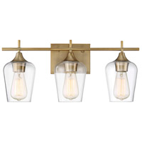 Octave 3 Light 21 inch Warm Brass Bath Bar Wall Light