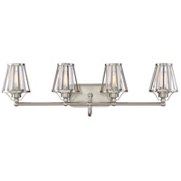 Caroll 4 Light 31 inch Satin Nickel Bath Bar Wall Light in Clear Seeded