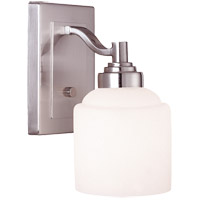 Wilmont 1 Light 5 inch Pewter Bath Bar Wall Light in White Opal Etched