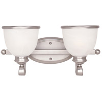 Willoughby 2 Light 17 inch Pewter Bath Bar Wall Light in White Marble