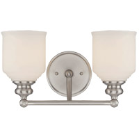 Melrose 2 Light 14 inch Satin Nickel Bath Bar Wall Light