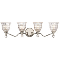 Birone 4 Light 33 inch Polished Nickel Bath Bar Wall Light in Clear Crystal