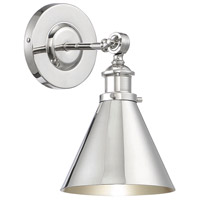 Glenn 9 inch 60 watt Polished Nickel Adjustable Wall Sconce Wall Light