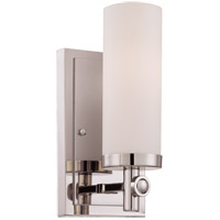 Savoy House 9-1027-1-109 Manhattan 1 Light 5 inch Polished Nickel Sconce Wall Light in White Opal Etched photo thumbnail