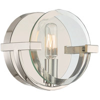 Malvern 1 Light 7 inch Polished Nickel Sconce Wall Light in Clear Beveled