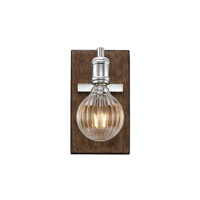 Barfield 1 Light 5 inch Polished Nickel with Wood Accents Wall Sconce Wall Light