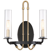Savoy House 9-8073-2-51 Kearney 2 Light 12 inch Vintage Black with Warm Brass Sconce Wall Light