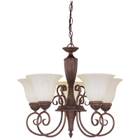 Liberty 5 Light 23 inch Walnut Patina Chandelier Ceiling Light in Cream Marble