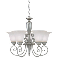 Spirit 5 Light 23 inch Pewter Chandelier Ceiling Light in White Marble