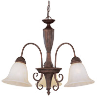 Liberty 3 Light 22 inch Walnut Patina Chandelier Ceiling Light in Cream Marble
