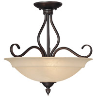 Oxford 3 Light 17 inch English Bronze Semi-Flush Mount Ceiling Light