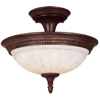 Liberty 2 Light 13 inch Walnut Patina Semi-Flush Ceiling Light in Cream Marble