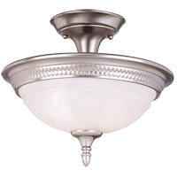Spirit 2 Light 13 inch Pewter Semi-Flush Ceiling Light in White Marble