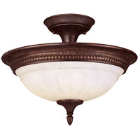 Liberty 2 Light 15 inch Walnut Patina Semi-Flush Ceiling Light in Cream Marble