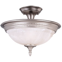 Spirit 2 Light 15 inch Pewter Semi-Flush Ceiling Light in White Marble