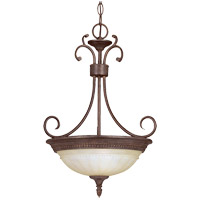 Liberty 2 Light 15 inch Walnut Patina Pendant Ceiling Light in Cream Marble