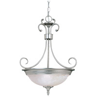 Spirit 3 Light 17 inch Pewter Pendant Ceiling Light in White Marble