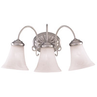 Spirit 3 Light 20 inch Pewter Bath Bar Wall Light in White Marble