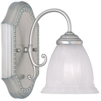 Spirit 1 Light 6 inch Pewter Bath Bar Wall Light in White Marble