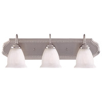 Spirit 3 Light 26 inch Pewter Bath Bar Wall Light in White Marble