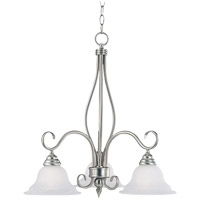 Polar 3 Light 23 inch Pewter Chandelier Ceiling Light in White Faux Alabaster
