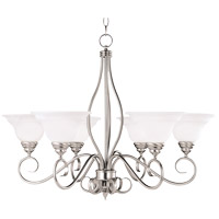 Polar 6 Light 33 inch Pewter Chandelier Ceiling Light in White Faux Alabaster