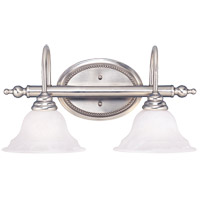 Polar 2 Light 20 inch Pewter Bath Bar Wall Light in White Faux Alabaster