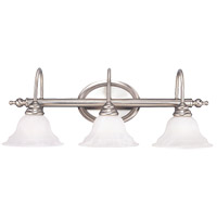 Polar 3 Light 28 inch Pewter Bath Bar Wall Light in White Faux Alabaster