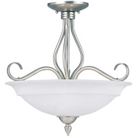 Polar 3 Light 17 inch Pewter Semi-Flush Ceiling Light in White Faux Alabaster