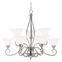 Savoy House KP-SS-99-9-69 Polar 9 Light 34 inch Pewter Chandelier Ceiling Light in White Faux Alabaster photo thumbnail