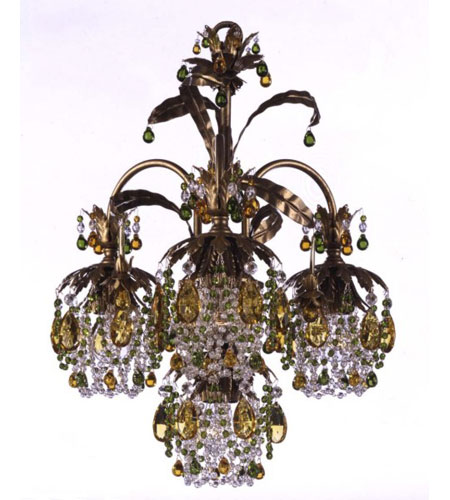 Schonbek Rondelle 4 Light Chandelier in Etruscan Gold and Olivine & Topaz Vintage Crystal Trim 1264-23OL photo