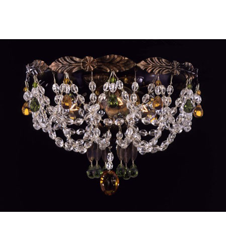 Schonbek Adagio 3 Light Flush Mount in Heirloom Bronze with Olivine Vintage Crystal Colors 5098-76OL photo
