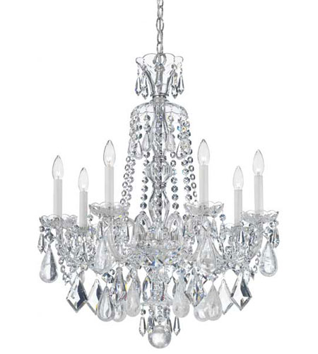 Schonbek Hamilton Rock Crystal 7 Light Chandelier in Silver and Clear Rock Crystal Trim 5536CL photo