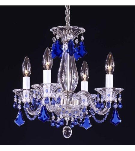 Schonbek Chandelier Replacement Crystals: Schonbek Minuet 4 Light Chandelier In Silver And Sapphire