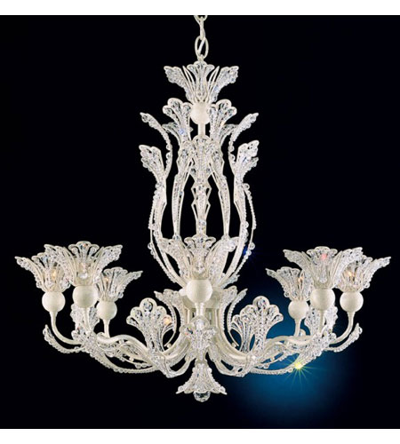 Schonbek Rivendell 8 Light Chandelier in French Lace and Crystal Swarovski Elements Trim 7863-32S photo